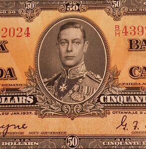 1937 Canada $50 Banknote. PMG Verified. Coyne & Towers Signed.