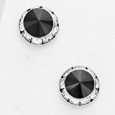 """Fashion Black Silver Stud Earrings Made With Crystal Swarovski Elements 5/8"""""""
