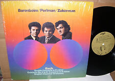 Bach Double Concerto Barenboim Zukerman Perlman LP EX+ Vinyl Shrink English Cham