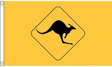 Kangaroo Warning Sign Flag 5 x 3 FT - 100% Polyester With Eyelets - Australia Oz