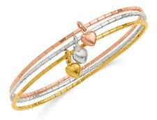 Tri-color hinchado Corazón Bangle en Plata Esterlina Plateado