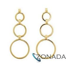 Circle 3 Hoops 9ct 9k Solid Yellow Gold Drop Earrings 54970