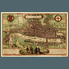 Reproduction 1560 MAP OF LONDON 18x12 inch, City, Historical/ Political, uk