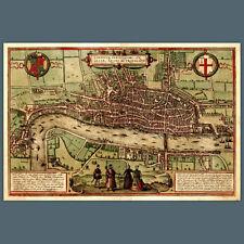 Reproducción 1560 Mapa De Londres 18x12 Pulgadas, ciudad, histórica / Política, Reino Unido