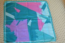 """Vintage contemporary abstract scarf~Ponge~Italy~Polyester 26"""" (67cm) square"""
