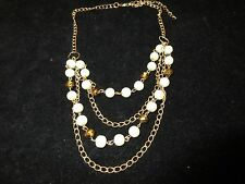 Necklace Statement Layered Bronze Crystal Imitation Pearl Gold Tone Shiny Chain