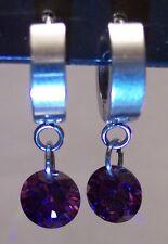 Stainless Steel Circle Drop Purple CZ Dangle  Hoop Huggie Earrings