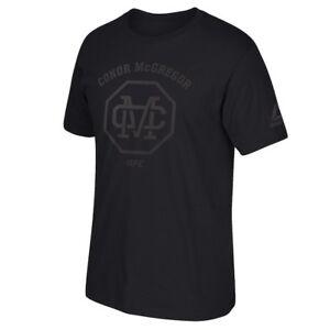Reebok Mens UFC All Black Conor McGregor Shirt New L, XL, 2XL