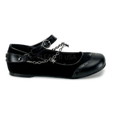Gothic Goth Punk Rock Mary Jane Flats Chains Skull Buckle Shoes