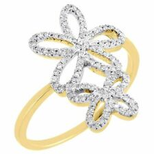 Diamond Flower Cocktail Ring 10K Yellow Gold Round Pave Fashion Band 0.20 Tcw.