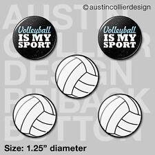 "(5) VOLLEYBALL 1.25"" pinback buttons / badges - beach team gift pins"