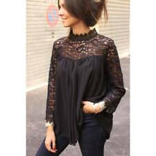 Ladies Women Lace Patchwork Office Top Blouse High Neck Casual Loose T-Shirt Tee