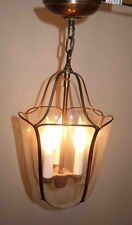 Vintage Foyer Pendant Brass Glass Hanging Chandelier 3-Light Fixture
