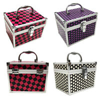 Beauty Cosmetic Box Polka Dot Alu Make Up Vanity Case Nail Tech Hair Salon Bag