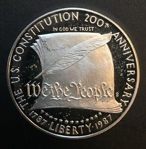United States - Silver 1 Dollar Coin - 'Constitution' - 1987 - Proof