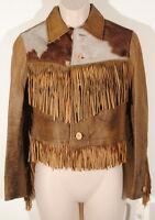 RRL Double RL Brown Leather Fringe Western Jacket Cow Hide Yoke Sz 2 $2200 #5
