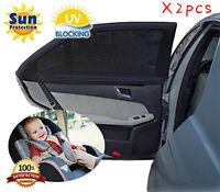 2Pcs Black Mesh Car Side Rear Window Sun Shade Cover Visor Screen Universal Car