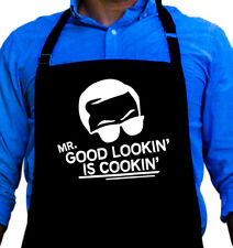 Mr. Good Lookin is Cooking BBQ Funny Apron Gift for Dad or Grandpa by ApronMen