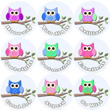 144 Owl Branch Praise Words 30mm Children's Reward Stickers for Teacher, Parent