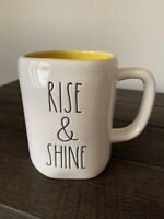 "Rae Dunn By Magenta ""Rise and Shine"" Coffee Mug Black LL Yellow Interior"