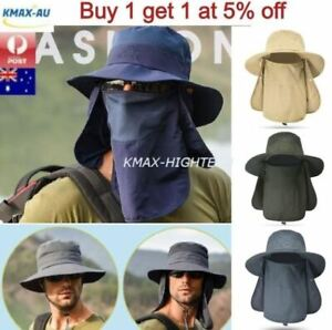 Wide Brim Fishing Hiking Hats Flat Cap Outdoor Sport Sun Protect Face Neck Cover
