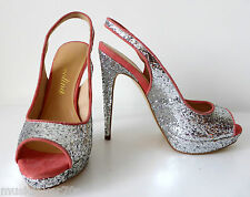 DIAVOLINA - NEW -  Size 6.5  Silver Sling Back High Heel Open Toe Shoes