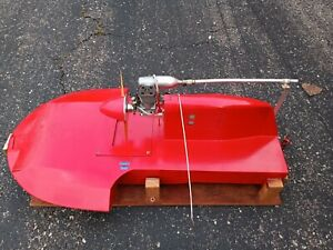 """Larger Vtg  Air Boat hydroplane Tigre Motor RC Hand Made wood 42"""" custom Stand"""