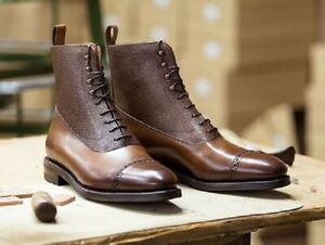 New Handmade two tone leather soled Balmoral Boot, made using the finest French