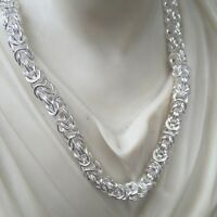 """Mens Byzantine Maille Chunky Chain Necklace 925 Sterling Silver 4.5mm 36GR 22"""""""