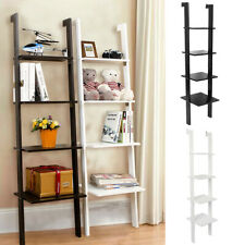 4 Tier Wooden Wall Mounted Ladder Shelf Plant Stand Holder Storage Rack Bookcase