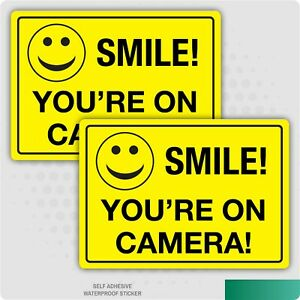 2 x Smile You're on Camera Stickers - Funny CCTV A5 Stickers Safety Business