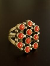 Stunning Vintage NAVAJO Sterling Silver Coral Cluster Ring Sz 8 1/4