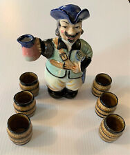 Vintage HAND PAINTED PIRATE Decanter + 6 Shot Glasses Set Japan Rum Whiskey +++