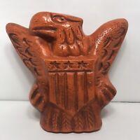 VTG Bald Eagle Antique Vintage Ceramic Bank Orange Stars Stripes USA Americana