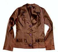 Maria Bianca Nero Womens S Designer Brown Satin Jacket Blazer Fitted Stretch