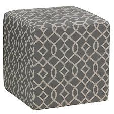 Cortesi Home Braque Grey Cube Ottoman in Linen Fabric