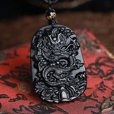Natural & Obsidian Hand Carved Chinese Dragon Good Luck Charm Pendant Necklace