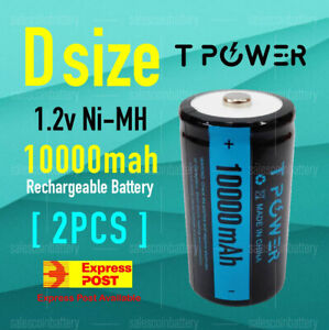 2x Tpower Heavy Duty 1.2V D size 10000mAh Ni-MH Rechargeable NIMH Battery