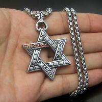 Men's Vintage Magen Star of David Stainless Steel Pendant Necklace Israel Jewish