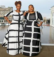 Fashion Women Round Neck Long Sleeve Stripes Print Belted Casual Plus Size Dress