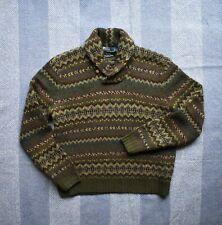 Stunning Polo Ralph Lauren Hand Knit Shawl Collar Fairisle Jumper Size XXL RRL