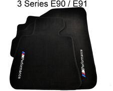 BMW 3 Series E90 E91 E90LCI E91LCI Black Floor Mats Performance Emblem Tailored
