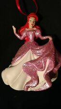 Disney Princess Ariel Little Mermaid Christmas Ornament Glitter Pink Gown