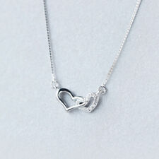 pure 925 silver Crystal diamond heart to heart fashion charm neckless D581