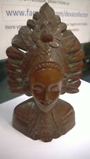 Vintage Asian Indian African wooden carving Head & Shoulders Feather Head Dress