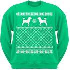 Puggle Green Adult Ugly Christmas Sweater Crew Neck Sweatshirt