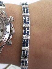 """Fine Gem Blue Sapphire & Diamond White Gold Milgrain Tennis Bracelet 7.25"""" 8.00C"""