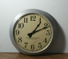 """Vintage The Standard Electric Time Co Silver Metal  Large Wall Clock 14 1/4"""""""