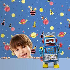 Espacio Planetas Cohetes Niños Chicos Papel Pintado DEBONA Azul 20006