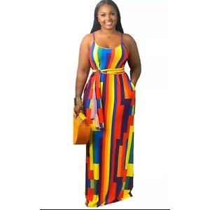 Womens Sleeveless Summer Maxi Dress with a belt